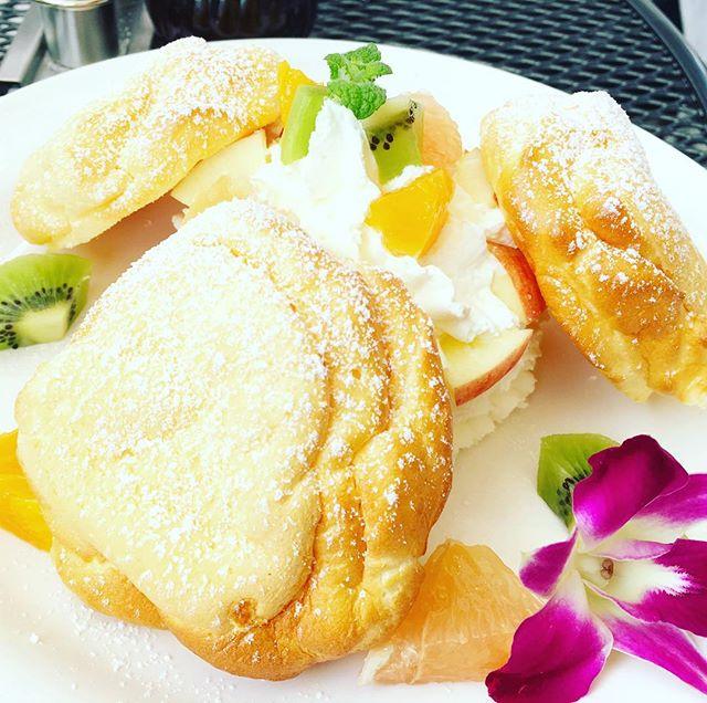 キャンディードゥは福島市のお洒落なパンケーキ屋さん。ふわふわ生地がいいね!#キャンディドゥ #パンケーキ #甘さ控えめ #ダイエットは明日から #ふわふわ #カフェ #テラス席 #ワンコ可 #子連れ #デート #笹谷 #福島市 #福島市カフェ #郡山市
